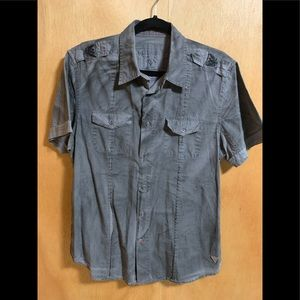 Used Guess gray s/s Military style shirt sz M